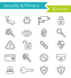 Security and privacy line icons set Royalty Free Stock Image