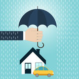 Security of property concept. Hand hold umbrella over house, car. Security of property concept. Agent holding umbrella over house, car. Vector illustration Stock Photo