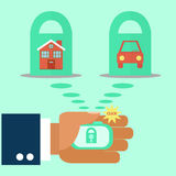 Security of property. design. Mobile, compact alarm system protecting the house and the car at the push of a button. flat design. vector Royalty Free Stock Photo