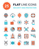 Security and Protection. Abstract vector collection of flat line security and protection icons. Elements for mobile and web applications Royalty Free Stock Image