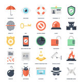 Security and Protection. Abstract vector set of colorful flat security and protection icons. Creative concepts and design elements for mobile and web Stock Image