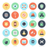 Security and Protection. Abstract vector set of colorful flat security and protection icons. Creative concepts and design elements for mobile and web Royalty Free Stock Image