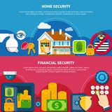Security And Protection Banners Set. Security and protection horizontal banners set with home and financial security symbols flat isolated vector illustration Stock Photo