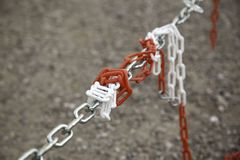 Security protection chain. Chain of protection and security, prohibited passage, works, lock, concept, chains, padlock, steel, white, metal, pattern, background royalty free stock photos
