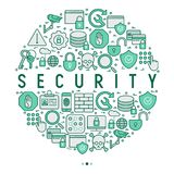 Security and protection concept in circle. With thin line icons: data, surveillance camera, finger print, electronic key, password, alarm, safe. Vector Royalty Free Stock Images