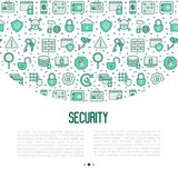 Security and protection concept. With thin line icons: data, surveillance camera, finger print, electronic key, password, alarm, safe. Vector illustration for Stock Images