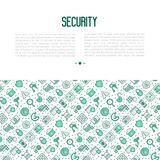 Security and protection concept. With thin line icons: data, surveillance camera, finger print, electronic key, password, alarm, safe. Vector illustration for Stock Image