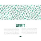 Security and protection concept. With thin line icons: data, surveillance camera, finger print, electronic key, password, alarm, safe. Vector illustration for Royalty Free Stock Photos