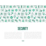 Security and protection concept. With thin line icons: data, surveillance camera, finger print, electronic key, password, alarm, safe. Vector illustration for Stock Photography