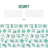 Security and protection concept. With thin line icons: data, surveillance camera, finger print, electronic key, password, alarm, safe. Vector illustration for Stock Photos