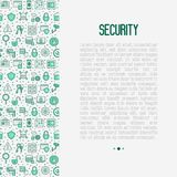 Security and protection concept. With thin line icons: data, surveillance camera, finger print, electronic key, password, alarm, safe. Vector illustration for Royalty Free Stock Photo