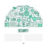 Security and protection concept in half circle. Security and protection concept with thin line icons: data, surveillance camera, finger print, electronic key Stock Photos