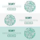 Security and protection concept. With thin line icons: data, surveillance camera, finger print, electronic key, password, alarm, safe. Vector illustration for Royalty Free Stock Images