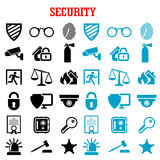 Security and protection flat icons set. Security and safety flat icons set with web security shields, padlock, key, safe, video surveillance, fire security Stock Photos