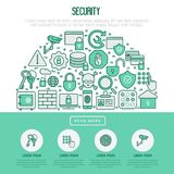 Security and protection in half circle concept. With thin line icons: data, surveillance camera, finger print, electronic key, password, alarm, safe. Vector Stock Images