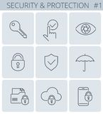 Security and protection line symbols. Vector thin outline icon s. Security, business data protection outline icons: lock, key, shield, padlock, umbrella. Vector Royalty Free Stock Image