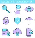 Security and protection line symbols. Vector thin outline icon s. Security, business data protection color outline icons: lock, key, shield, padlock, umbrella Royalty Free Stock Images