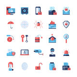 Security, protection modern flat design icons and pictograms Royalty Free Stock Images