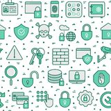 Security and protection seamless pattern. With thin line icons: data, surveillance camera, finger print, electronic key, password, alarm, safe. Vector Stock Photography