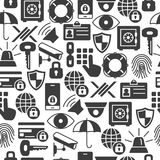 Security and protection seamless pattern with thin line icons. Security and protection seamless pattern with silhouette icons. Data Security and Safe Background Royalty Free Stock Images