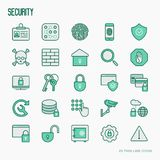 Security and protection thin line icons set. Security and protection thin line icons: data, surveillance camera, finger print, electronic key, password, alarm Stock Image