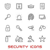 Security and protection thin line style icons Royalty Free Stock Photos