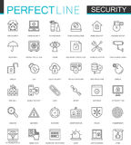 Security protection thin line web icons set. Data, web, personal and home security outline stroke icons design. Stock Photos