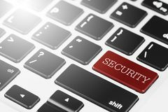 """""""SECURITY"""" Red button keyboard on laptop computer for Business and Technology concept. Icon, white, protection, cyber, secure, safety, internet royalty free stock image"""