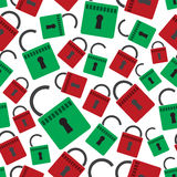 Security red and green padlock seamless pattern Royalty Free Stock Photo