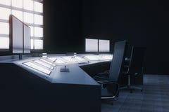 Security room interior side vector illustration