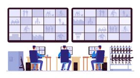 Security room. Professionals monitoring in control center with cctv monitors vector illustration