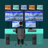 Security room in which working professionals royalty free illustration