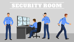 Security room and working guards. Vector concept Stock Photography
