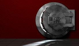 Security safe. Metal safe. red room. security Stock Photo
