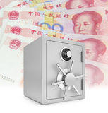 Security safe with chinese hundred yuan bills Royalty Free Stock Photo