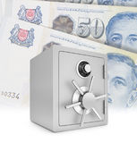 Security safe with singapore dollar bills Royalty Free Stock Image