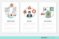 Security and Safety Business Brochures Template. In Thin Line Style with Shield and Safe. Vector illustration Royalty Free Stock Image