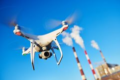 Security and safety. drone flying near power plant. Security and safety. drone flying near power plant or heat electropower station. slow motion royalty free stock photo