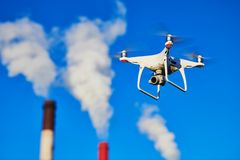 Security and safety. drone flying near power plant. Security and safety. drone flying near power plant or heat electropower station. slow motion stock image