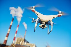 Security and safety. drone flying near power plant. Security and safety. drone flying near power plant or heat electropower station. slow motion royalty free stock images