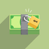 Security safety protection lock on money bill Royalty Free Stock Photography
