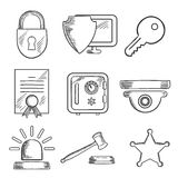 Security and safety sketched icons set Royalty Free Stock Photos