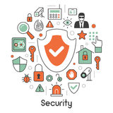 Security and Safety Thin Line Icons Set with Shield and Safe Royalty Free Stock Images