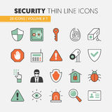 Security and Safety Thin Line Icons Set Royalty Free Stock Image