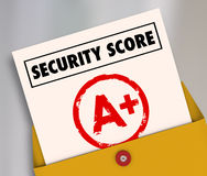 Security Score Report Card A Plus Great Secure Safety Rating vector illustration