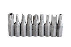 Security screwdriver drill heads in a row Stock Images