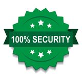 100% security seal stamp. Vector illustration of 100 security seal green star on isolated white background royalty free illustration