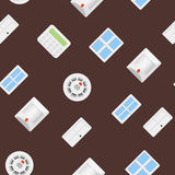 Security seamless pattern 4.2. 45 degrees. Security sensor and control panel Royalty Free Stock Photography