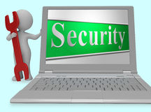 Security Secure Represents Protect Encrypt And Protected 3d Rendering Royalty Free Stock Image