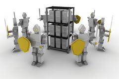 Security Server. 8 Knights to protect the server from viruses. Security Stock Photo